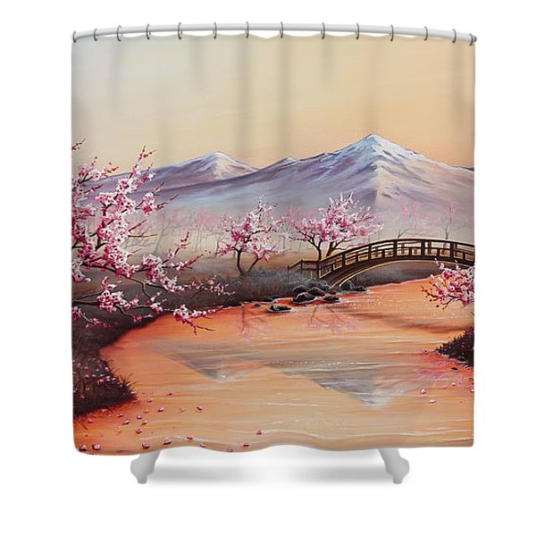 Cherry Blossoms In The Mist - Revisited Shower Curtain