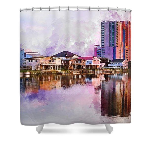 Cherry Grove Skyline - Digital Watercolor Shower Curtain