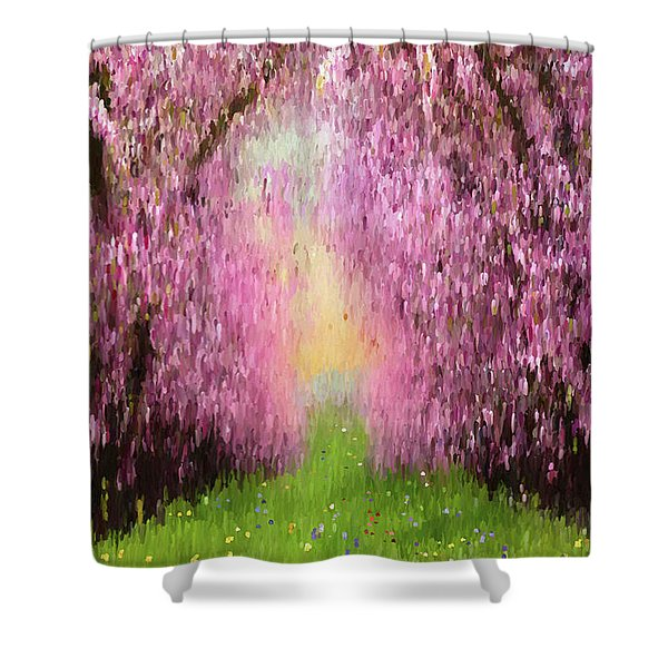 Cherry Orchard Shower Curtain