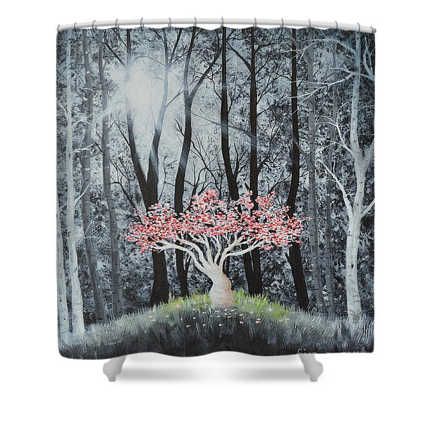Shower Curtain featuring the painting Cherry Surprise by Mary Scott