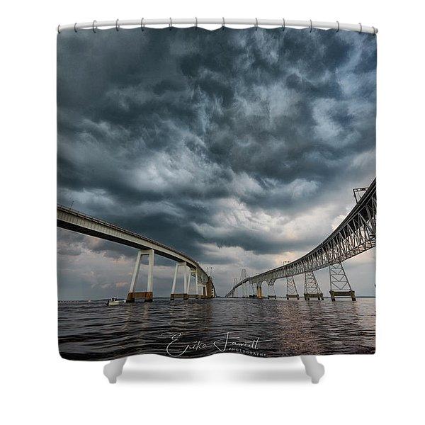 Chesapeake Bay Bridge Storm Shower Curtain