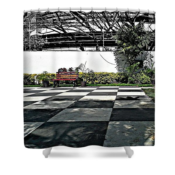 Chess Floor Shower Curtain