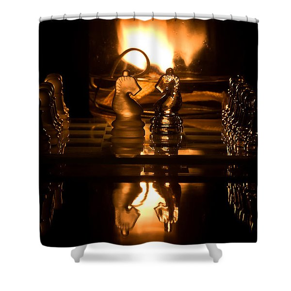 Chess Knights And Flame Shower Curtain