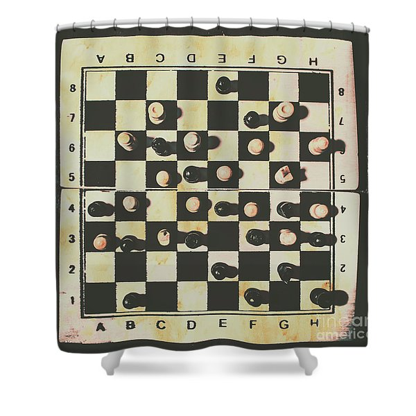 Chessboards And Playing Pieces Shower Curtain