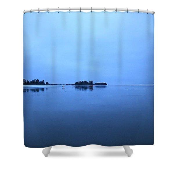 Chesterman Spatial Blues Shower Curtain
