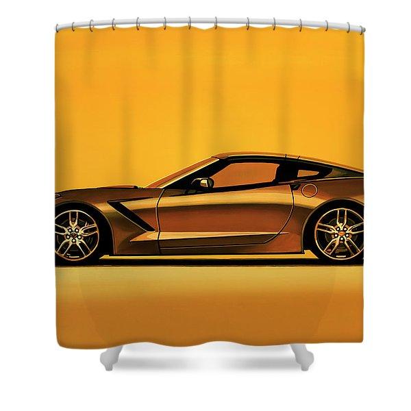 Chevrolet Corvette Stingray 2013 Painting Shower Curtain