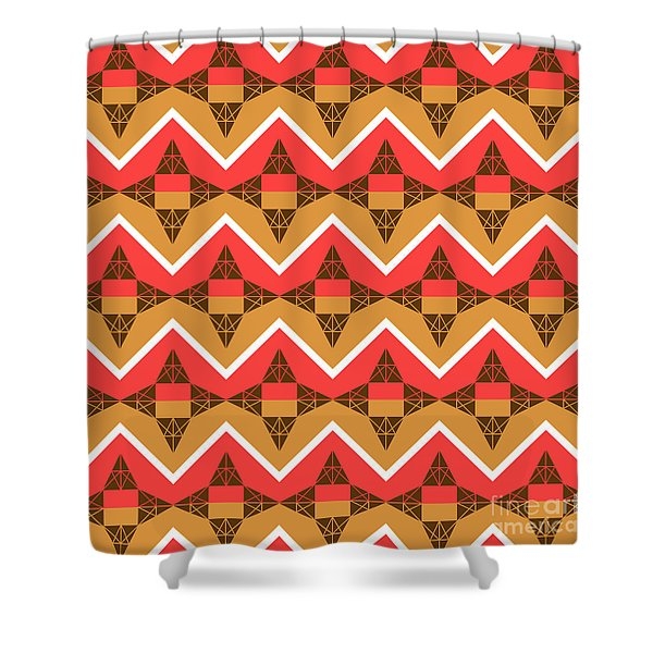 Chevron And Triangles Shower Curtain