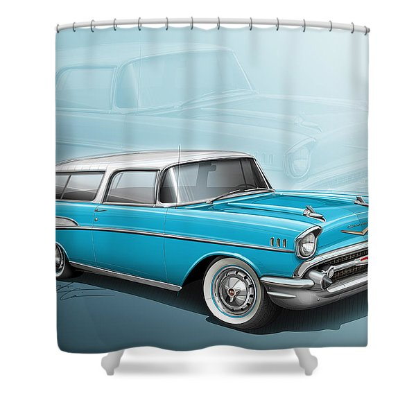 Chevy Nomad Wagon 1957 Shower Curtain