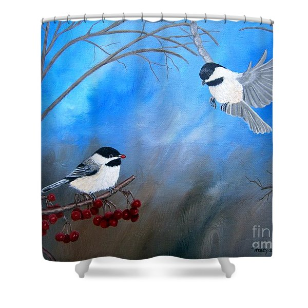 Shower Curtain featuring the painting Chickadees  by Tracey Goodwin