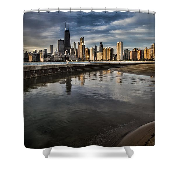 Chicago Beach And Skyline With A Person For Scale Shower Curtain
