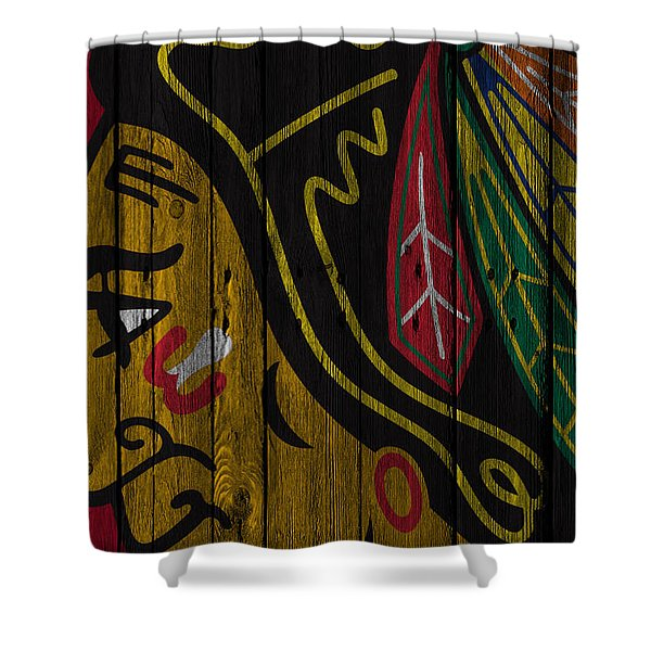 Chicago Blackhawks Wood Fence Shower Curtain