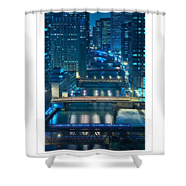 Chicago Bridges Poster Shower Curtain