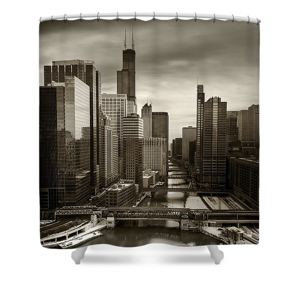 Chicago City View Afternoon B And W 16x20 Shower Curtain
