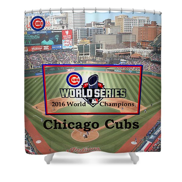 Shower Curtain featuring the digital art Chicago Cubs - 2016 World Series Champions by Charles Robinson