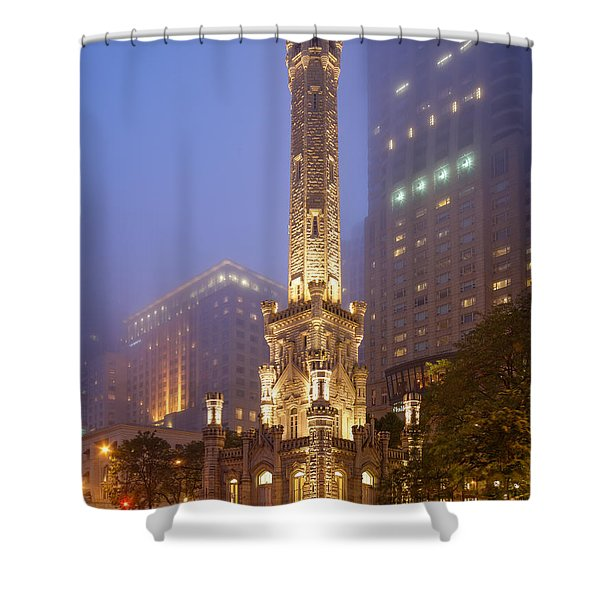 Chicago Historic Water Tower On Michigan Avenue Foggy Twilight - Chicago Illinois Shower Curtain