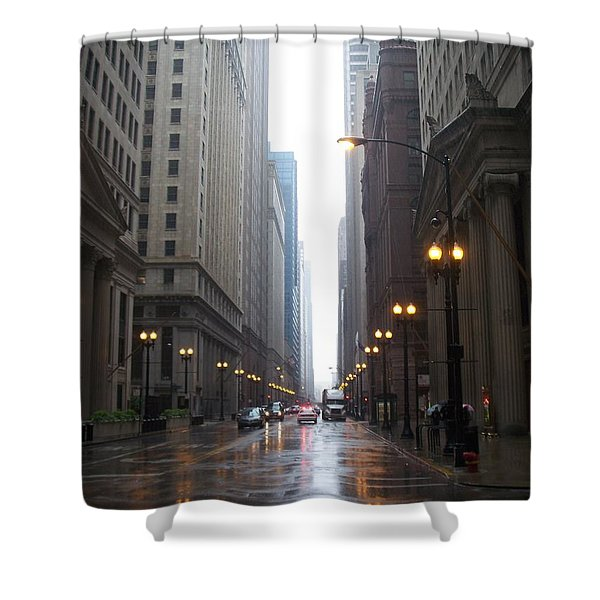 Shower Curtain featuring the photograph Chicago In The Rain 2 by Anita Burgermeister