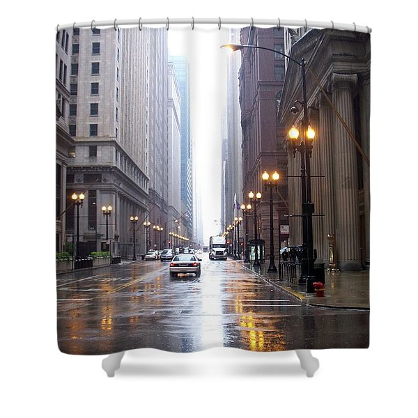 Shower Curtain featuring the photograph Chicago In The Rain by Anita Burgermeister