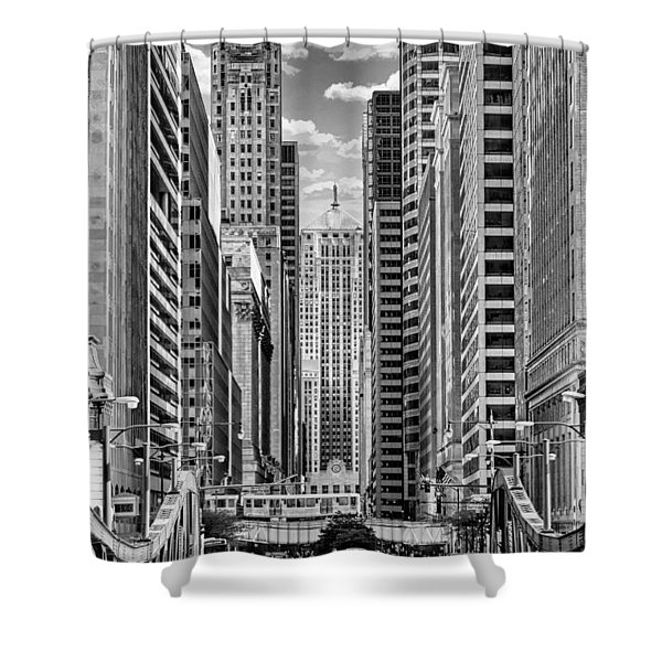 Chicago Lasalle Street Black And White Shower Curtain