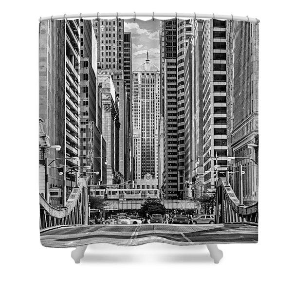Chicago Lasalle Street Black And White Shower Curtain