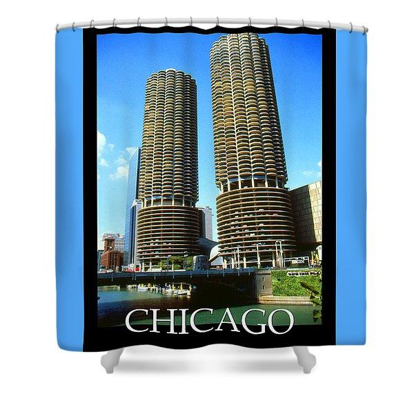 Chicago Poster - Marina City Shower Curtain