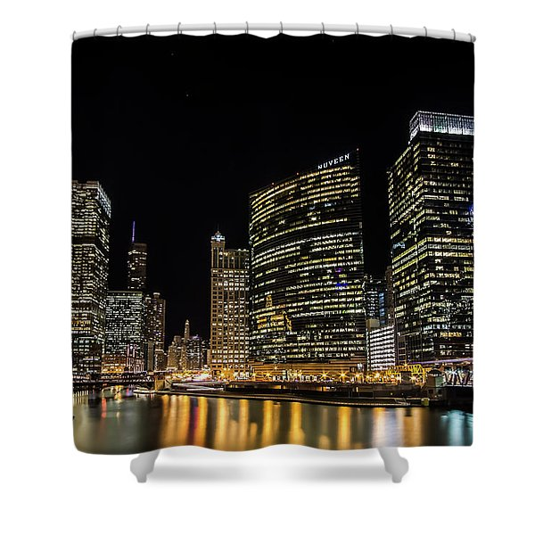 Chicago Night Skyline From Wolf Point Shower Curtain