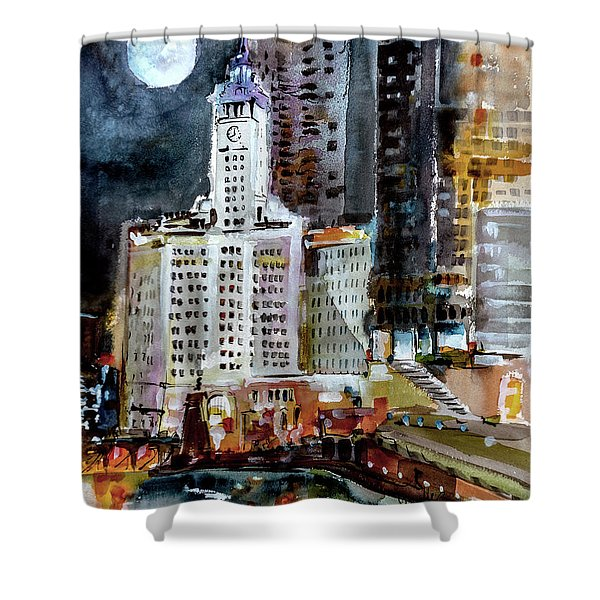 Chicago Night Wrigley Building Art Shower Curtain