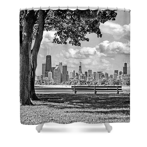 Chicago North Skyline Park Black And White Shower Curtain