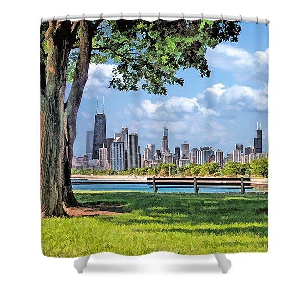 Chicago North Skyline Park Shower Curtain