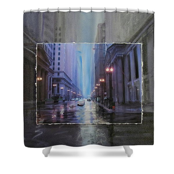 Shower Curtain featuring the mixed media Chicago Rainy Street Expanded by Anita Burgermeister