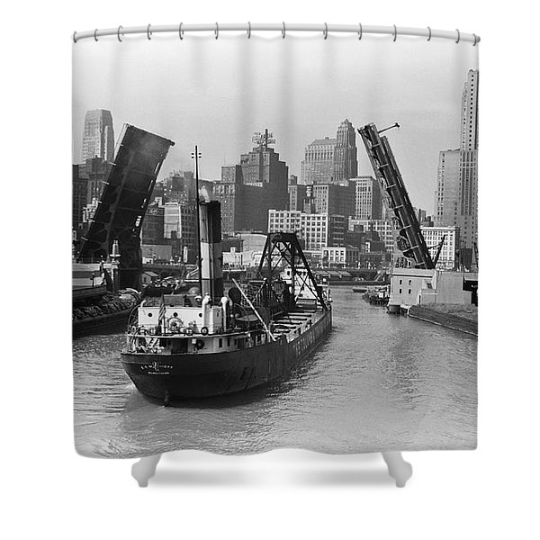 Chicago River 1941 Shower Curtain