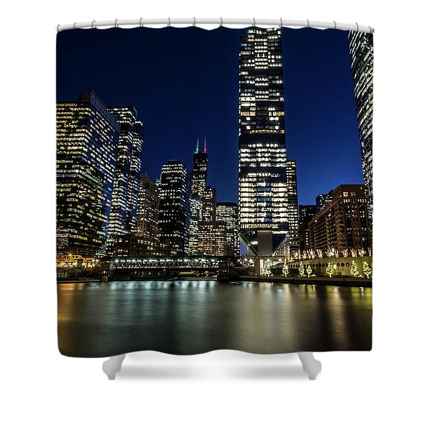 Chicago River And Skyline At Dusk  Shower Curtain