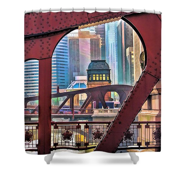 Chicago River Bridge Framed Shower Curtain