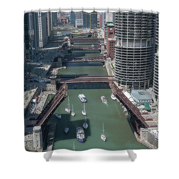 Chicago River Bridgelift Shower Curtain