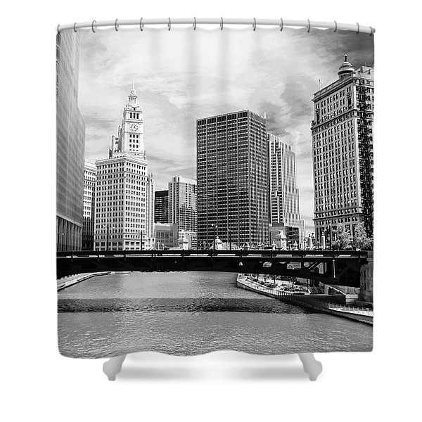 Chicago River Buildings Skyline Shower Curtain by Paul Velgos
