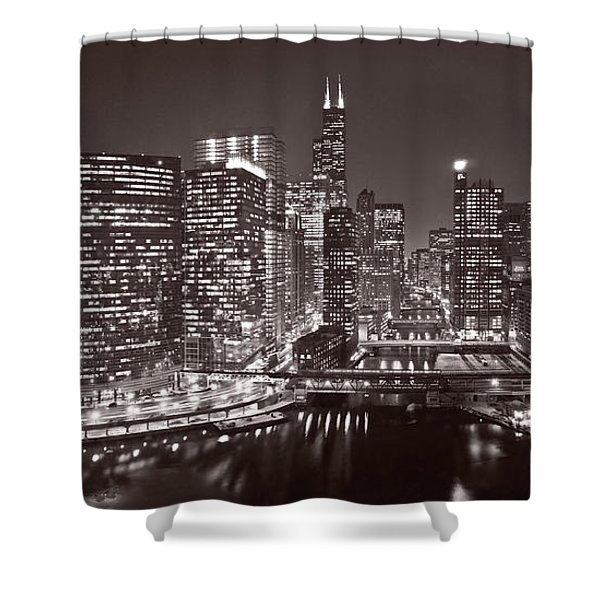Chicago River Panorama B W Shower Curtain