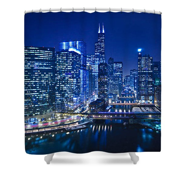 Chicago River Panorama Shower Curtain