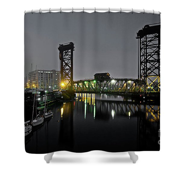 Chicago River Scene At Night Shower Curtain