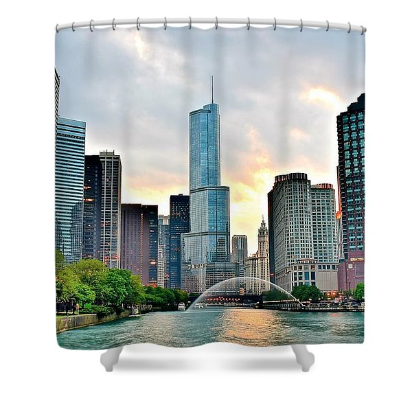 Chicago River View At Sunset Shower Curtain