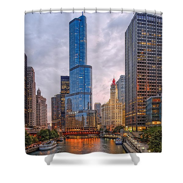 Chicago Riverwalk Equitable Wrigley Building And Trump International Tower And Hotel At Sunset  Shower Curtain