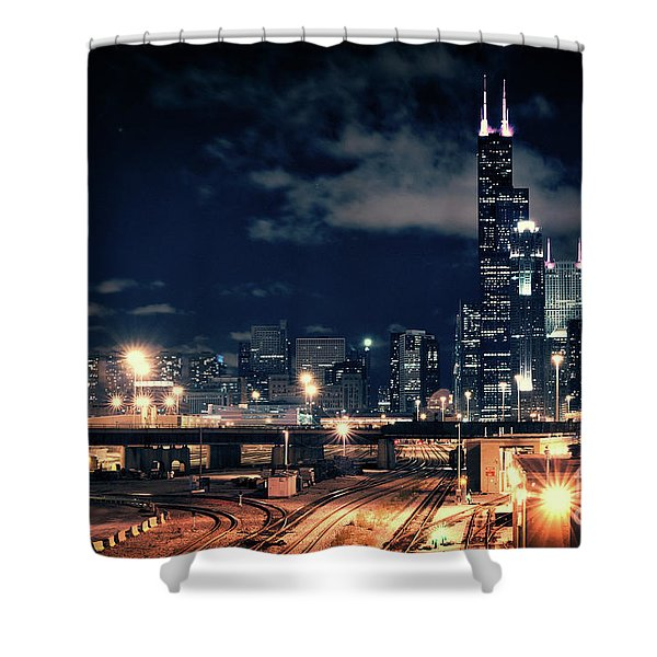 Chicago Skyline Cityscape At Night Shower Curtain