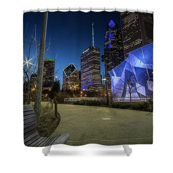 Chicago Skyline Form Maggie Daley Park At  Dusk Shower Curtain