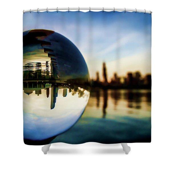Chicago Skyline Though A Glass Ball Shower Curtain