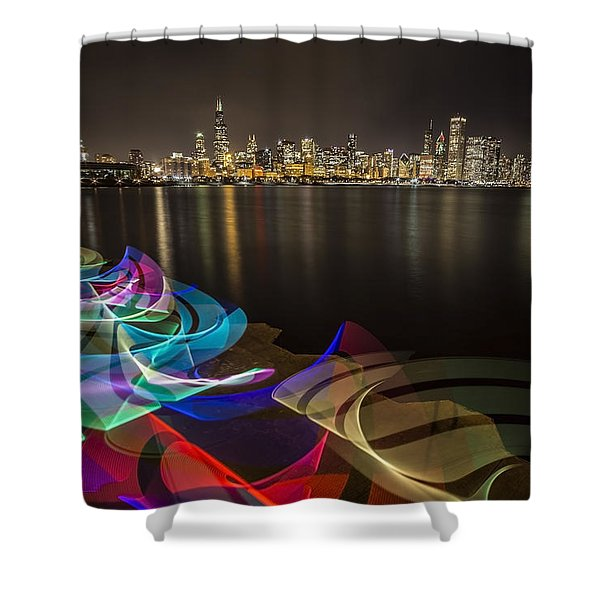 Chicago Skyline With Pixel Stick Painting Shower Curtain