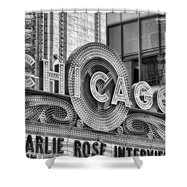 Chicago Theatre Marquee Black And White Shower Curtain