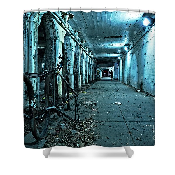 Chicago Viaduct At Night Shower Curtain