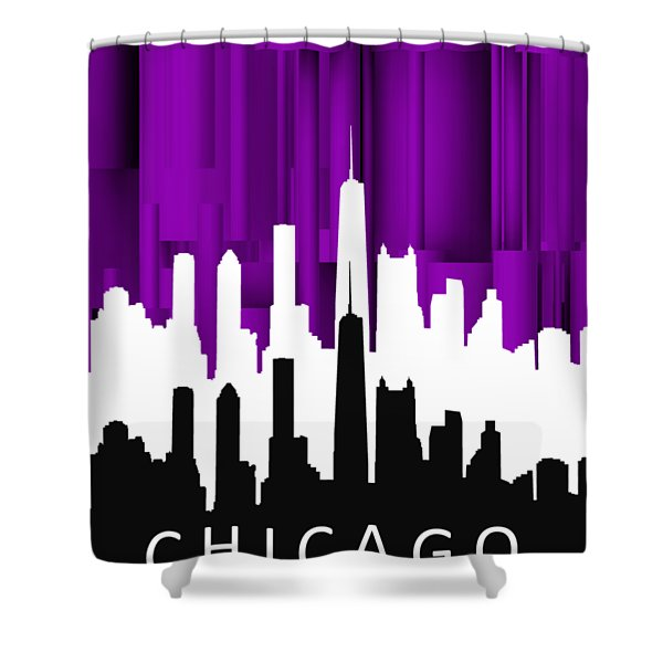 Chicago Violet In Negative Shower Curtain
