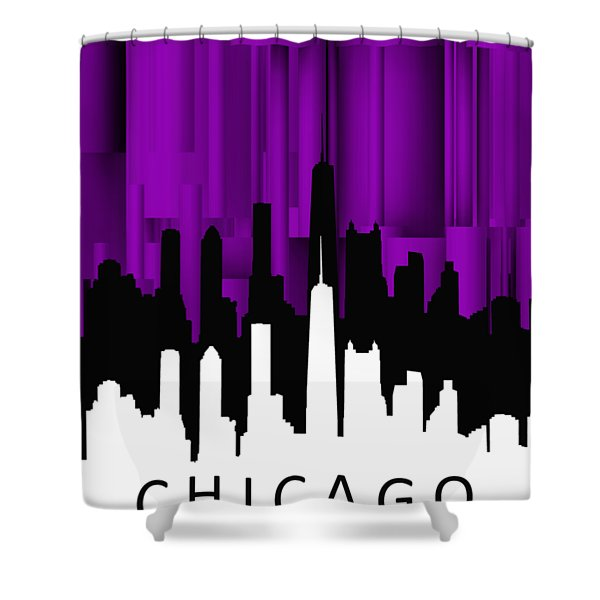 Chicago Violet Vertical  Shower Curtain