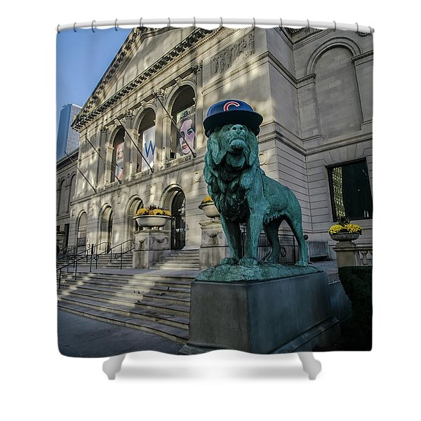 Chicago's Art Institute With Cubs Hat Shower Curtain