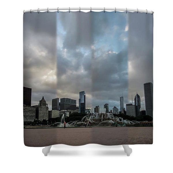 Chicago's Buckingham Fountain Time Slice Photo Shower Curtain