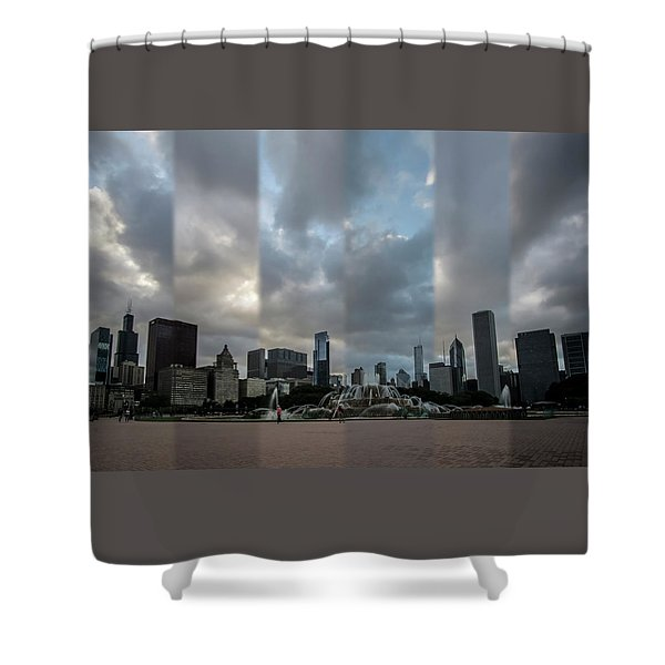 Chicago's Buckingham Fountain Time Slice Photo Shower Curtain